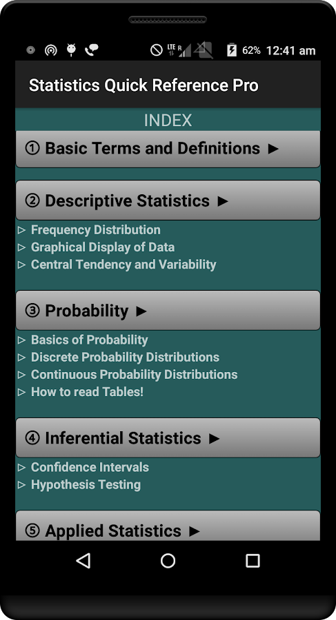 Statistics Quick ReferenceFree- screenshot