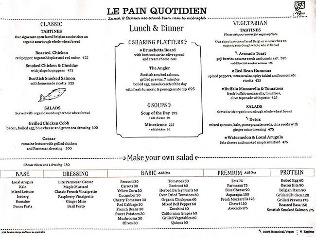 Le Pain Quotidien menu 3