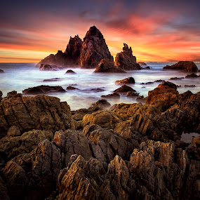 Sunrise at Camel Rock by Jim Merchant - Landscapes Sunsets & Sunrises ( legendary, camel rock, sunrise, seascape, landscape )