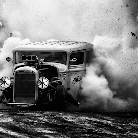 Burn the tires untill they blow by Alexander Arntsen - Transportation Automobiles ( car, motor sport, b&w, headlights, exploding tires, beautiful, hotrod, action, hot, people, crowd, burn out, smoke )