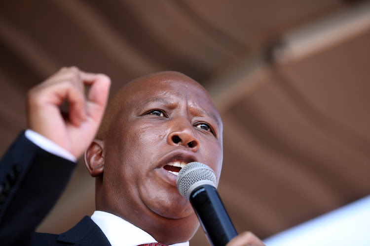 EFF leader Julius Malema after appearing at Randburg Magistrate's court in Johannesburg.
