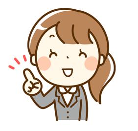 指さしをした笑顔の女性のイメージ