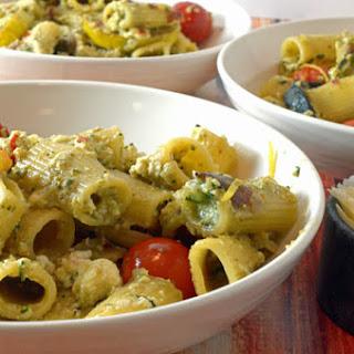 Summer Zucchini, Fresh Ricotta & Basil Pesto Over Pasta