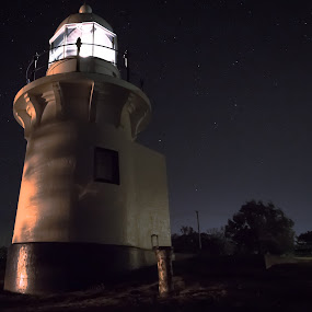 Lighthouse by Matthew Wood - Landscapes Starscapes ( night photography, stars, lighthouse, long exposure, nightscape )