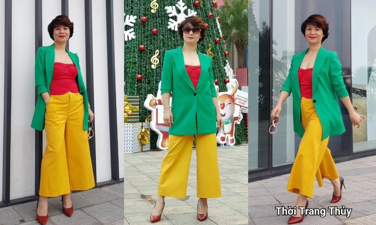 Áo vest nữ dáng suông mix quần culottes áo croptop V696 thời trang thủy hải phòng