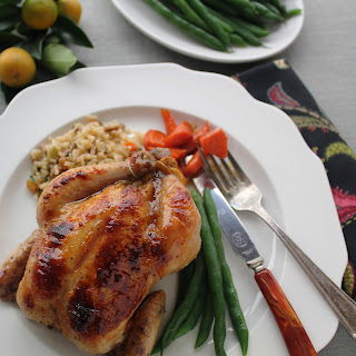 Apricot Glazed Cornish Game Hens With Sausage Rice Pilaf Stuffing.