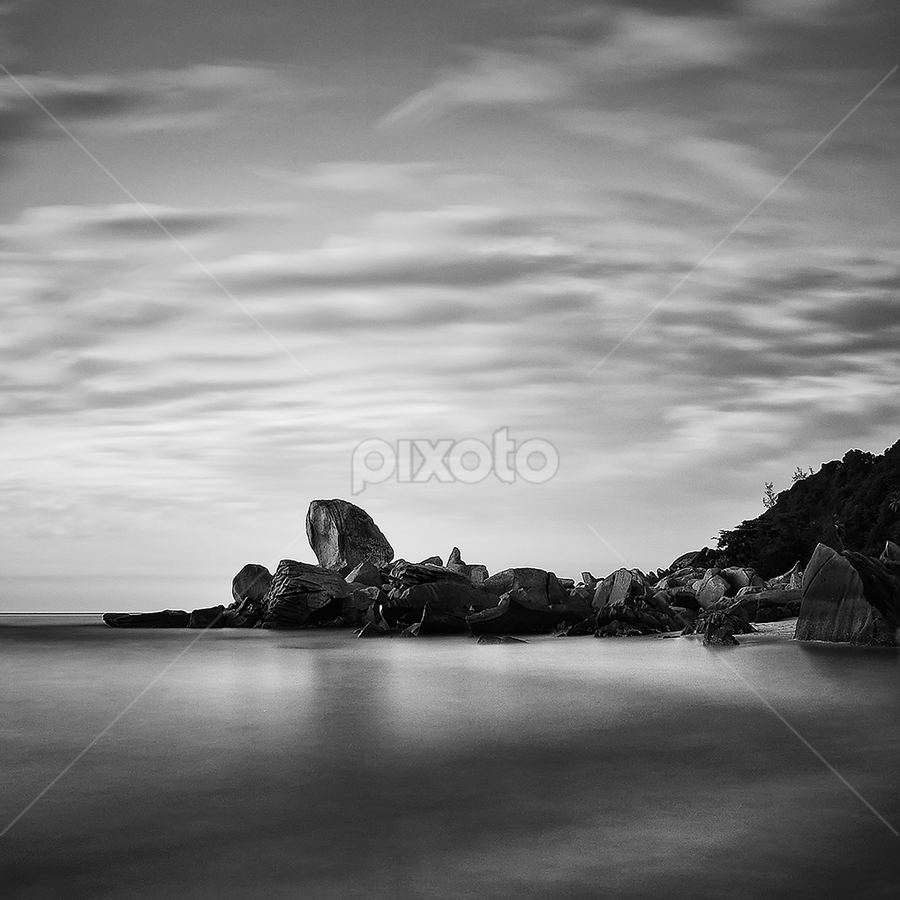 the indicator... by Azam Alwi - Landscapes Waterscapes ( b&w, stone, long exposure, beach, slow shutter )