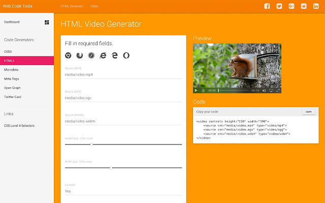 Website Code Generators by WebCodeTools com
