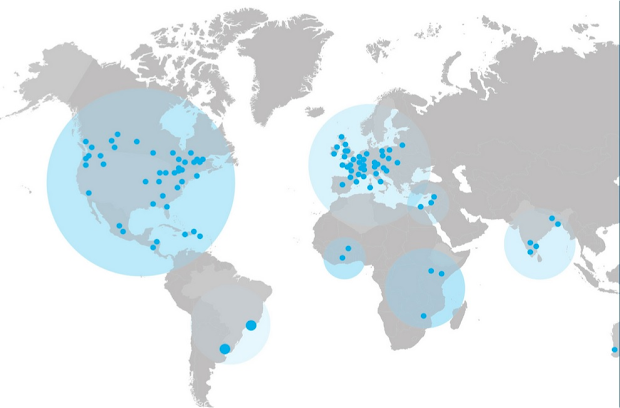 Carte des communautés de L'Arche Internationale