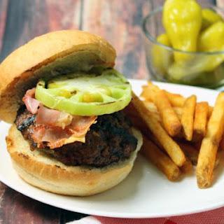 Feta and Pickled Pepper Stuffed Angus Burgers.