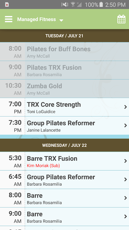 Managed Fitness Barre&Pilates- screenshot
