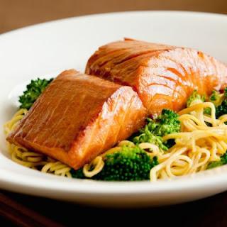 Lemon Basil Salmon with Spaghetti