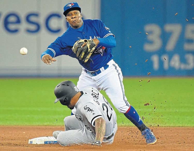 Having a ball: SA-born and bred Gift Ngoepe in action for the Toronto Blue Jays against the Chicago White Sox in April 2018. Picture: DAN HAMILTON/USA TODAY