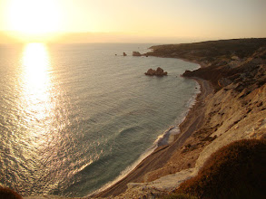 Photo: Petra Tou Romiou (Rock of the Greek), or Aphrodite's Rock, is a sea stack in Pafos, Cyprus. Its status in mythology as the birth place of Aphrodite makes it a popular tourist location