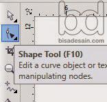 Kursus desain grafis - pilih shape tool di Corel Draw