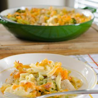 Chicken, Broccoli and Cauliflower Pasta Bake.
