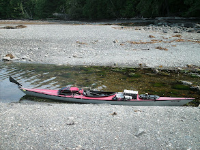 Photo: My kayak sitting in a creek where it enters Clarence Strait south of Myers Chuck.