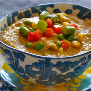Creamy Chickpea Miso Soup with Vegetables.