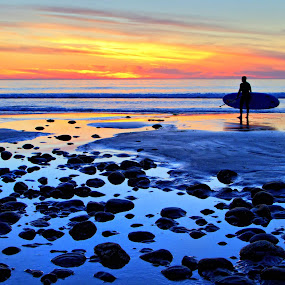 The Right Time by Julianne Bradford - Landscapes Beaches ( sunset, paddleboarder, san onofre state beach, rockybeach, ocean, beach )