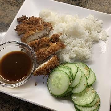 Chicken Katsu with Tonkatsu Sauce and Sunomono