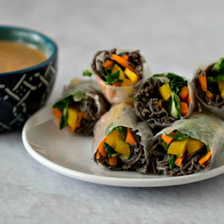 Spring Rolls with Black Bean Noodles.
