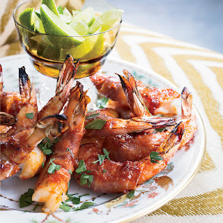 Prosciutto-Wrapped Shrimp with Bourbon Barbecue Sauce.
