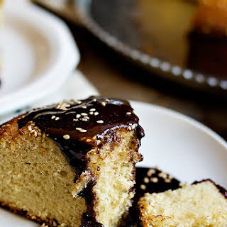 Tahini Cake with Chocolate Tahini Glaze.