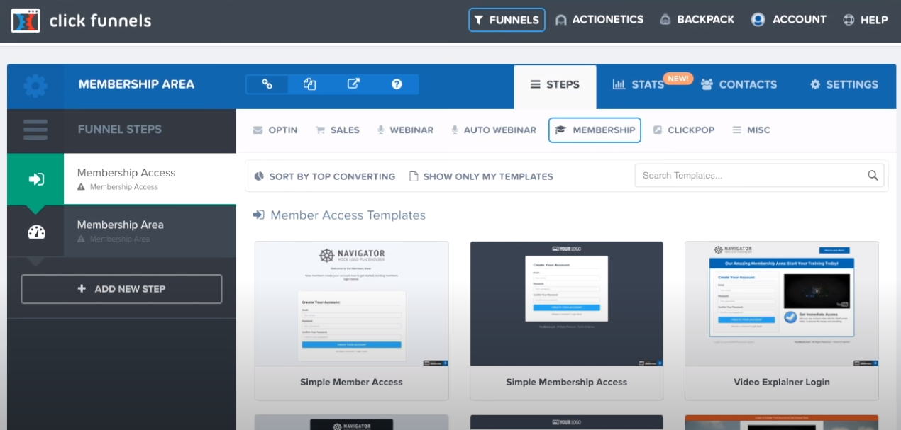 a screenshot of the membership area on ClickFunnels