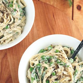 Vegan Garlic Alfredo with Asparagus & Peas