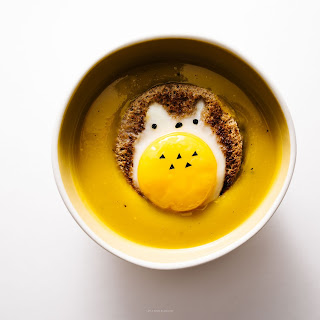 Japanese Kabocha Pumpkin Soup with Totoro Egg Toasts