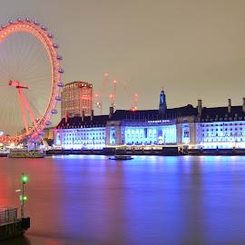 The London Eye by Aditya Shrivastava - City,  Street & Park  Historic Districts ( london eye, london, long exposure )