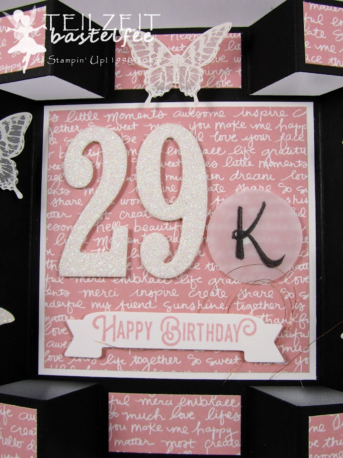 Stampin' Up! – Color Challenge, In{k}spire_me #287, Papillon Potpourri, So viele Jahre, Number of Years, Framelits Große Zahlen, Framelits Large Numbers, Brushwork Alphabet, Abgehoben, Lift me Up, Butterfly Punch, Ribba, DSP Zum Verlieben, Falling in Love DSP