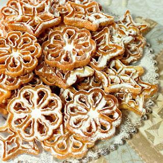 Fried Rosette Snowflake Cookies.