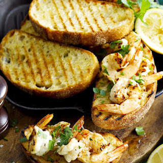 Grilled Garlic Shrimp Bruschetta.