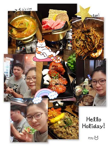 辣醬炸雞真的👍🏻 韓式烤牛肉。有點油不過調味讚 包肉的葉子太小。包不住內 單點就吃很飽囉❤️
