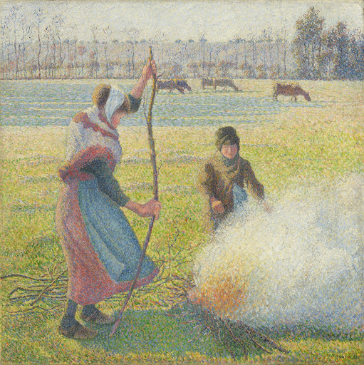 Hoar-Frost, Peasant Girl Making a Fire