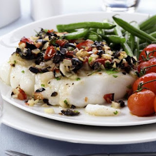 Olive and Tomato-topped Cod