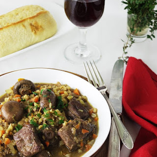 Beef with Mushrooms and Barley.
