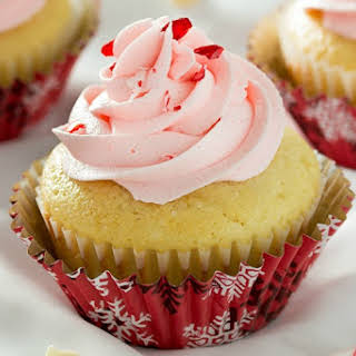 White Chocolate Cupcakes with Peppermint Buttercream.