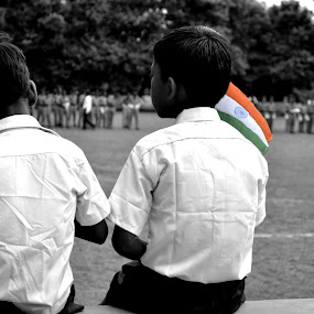 Independence Day of india   by Deependra Bapna - Babies & Children Children Candids ( flag, student, black&white )
