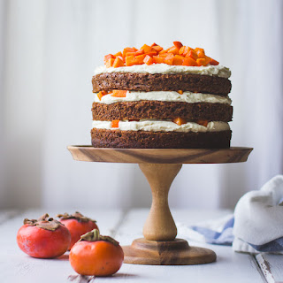 Two-Persimmon Layer Cake with Vanilla Bourbon Cream Cheese Frosting Recipe