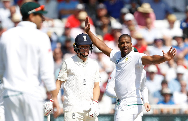 Vernon Philander celebrates the wicket of England's Gary Ballance in the second Test between South Africa and England in Nottingham, Britain, on July 17, 2017.    Picture: REUTERS