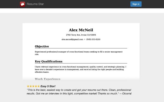 resume star chrome web store