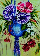 Photo: 107, Нетронина Наталья, Цветочное кашпо, Витражные краски, контуры, фольгированный картон (витражные картины), 35х28см,