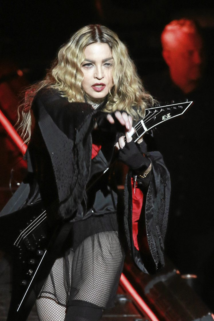 Madonna, all-round model for sexually confident women of a certain age, performs  in Macau, China.