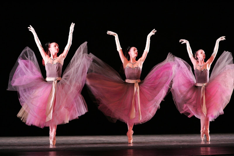 Photo: MCB dancers in La Valse. Choreography by George Balanchine © The George Balanchine Trust.  Photo © Joe Gato.