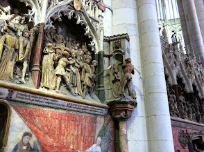 Photo: An imminent beheading in Amiens Cathedral. Justin told me that striped pants indicate heathenism in these carvings.