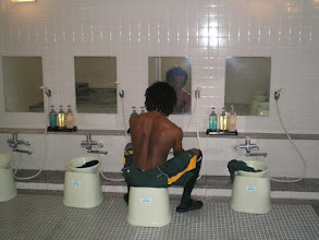 Photo: This... this is a shower. Very uncomfortable, but hey what else u want me to do after a hard practice. Had to get it in.