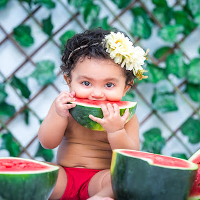 Gungun by Shashi Patel - Babies & Children Babies ( shashiclicks, baby, watermelon, shashi, girl, kids )