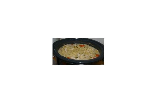 Creamy Chicken Noodle Soup in the Slow Cooker Recipe